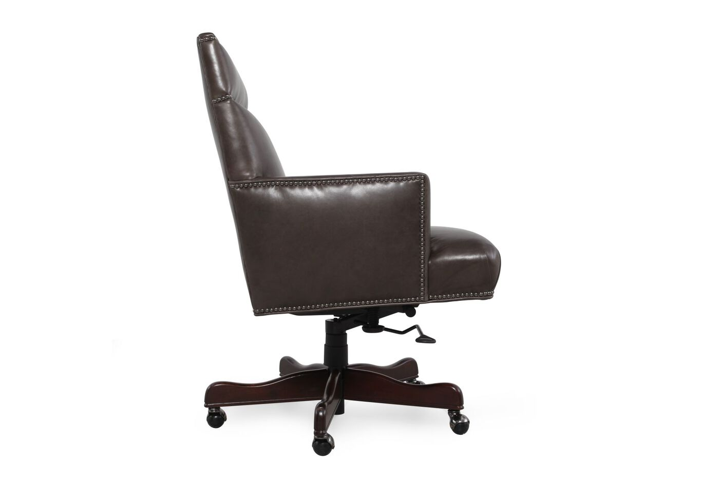 Leather Nailhead Accented Executive Desk Chair in Charcoal Grey ...