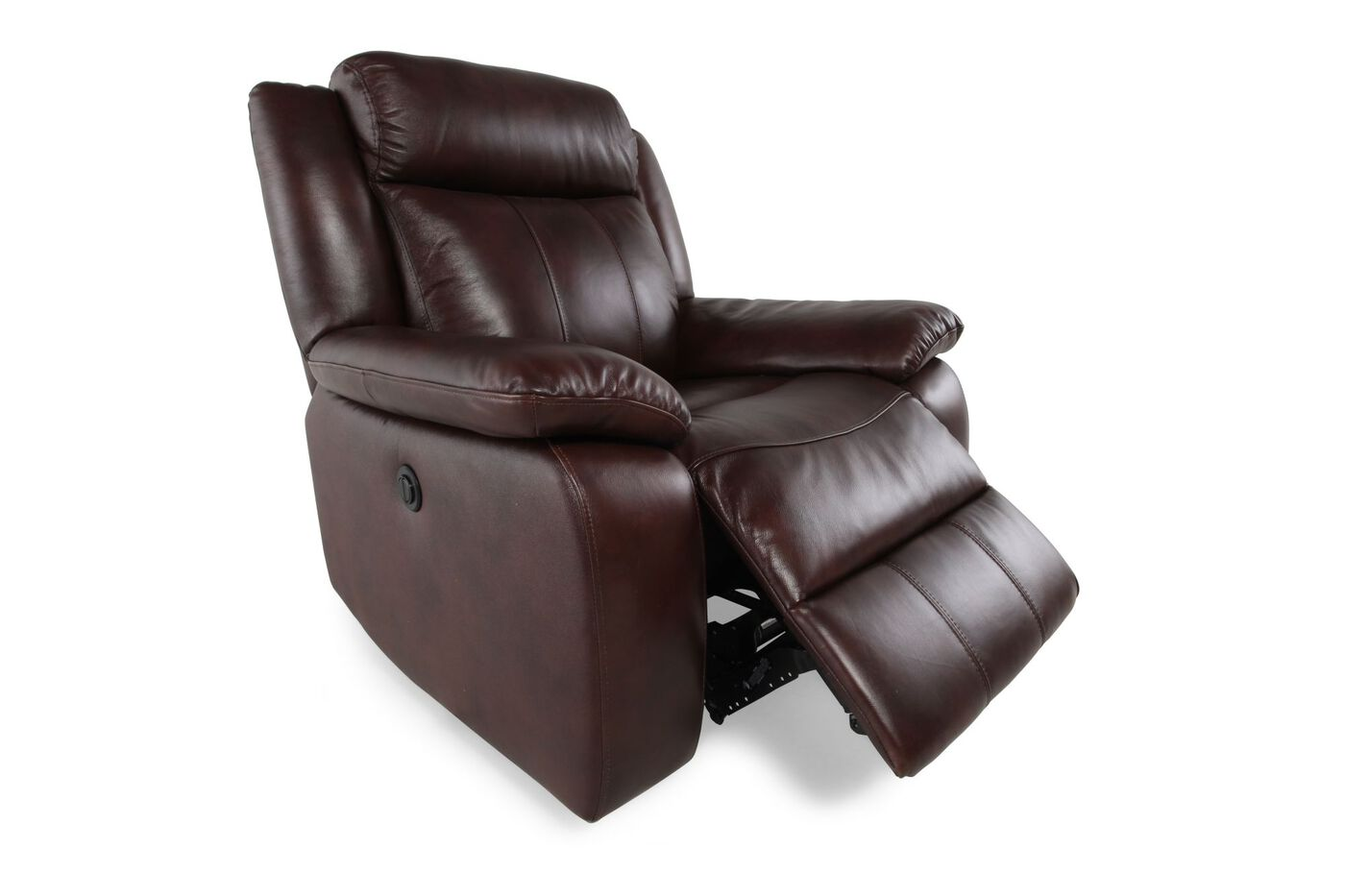 Power Motion Leather 43 Recliner In Deep Brown Mathis Brothers Furniture