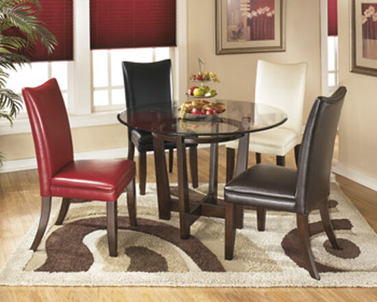 "Contemporary 45"" Round Dining Table in Medium Brown"