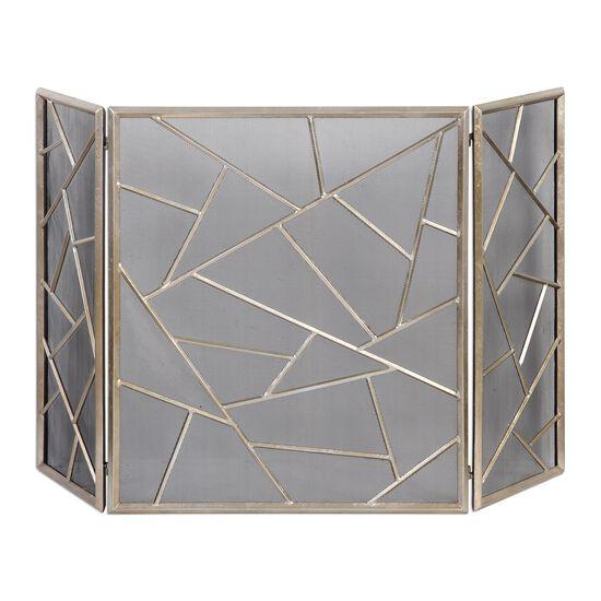 Geometric Modern Fireplace Screen in Silver Leaf