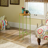 Round Top Contemporary Accent Table in Zesty Apple