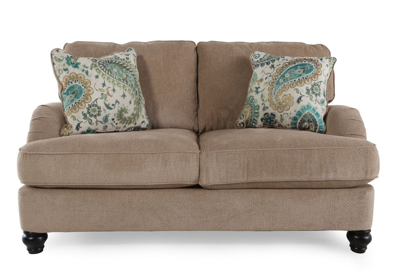 Casual Textured 66 Loveseat In Bisque Mathis Brothers Furniture