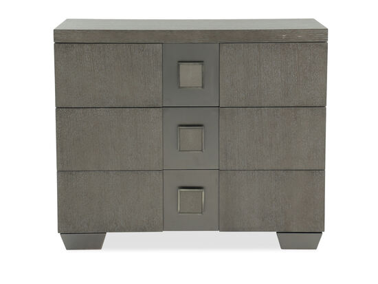 "13"" Modern Shagreen-Inset Three-Drawer Bachelor's Chest in Dark Taupe"