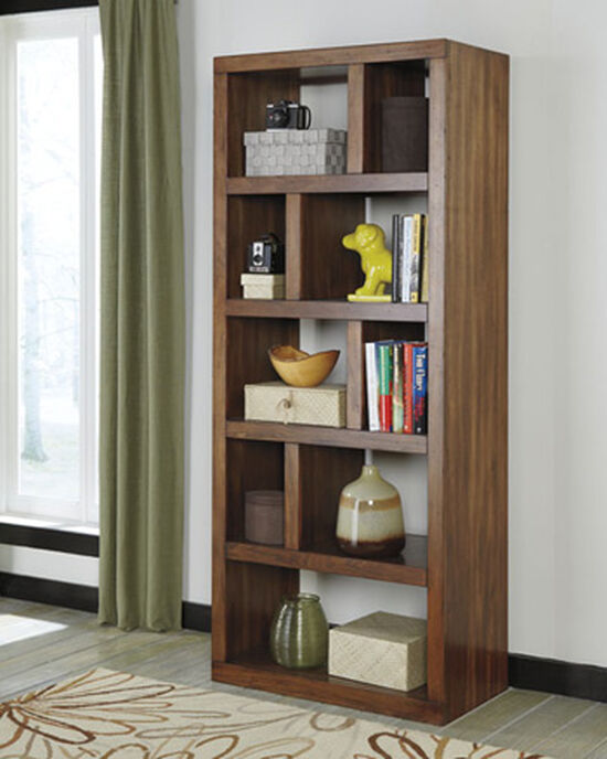 Nine-Shelf Contemporary Open Bookcase in Medium Brown