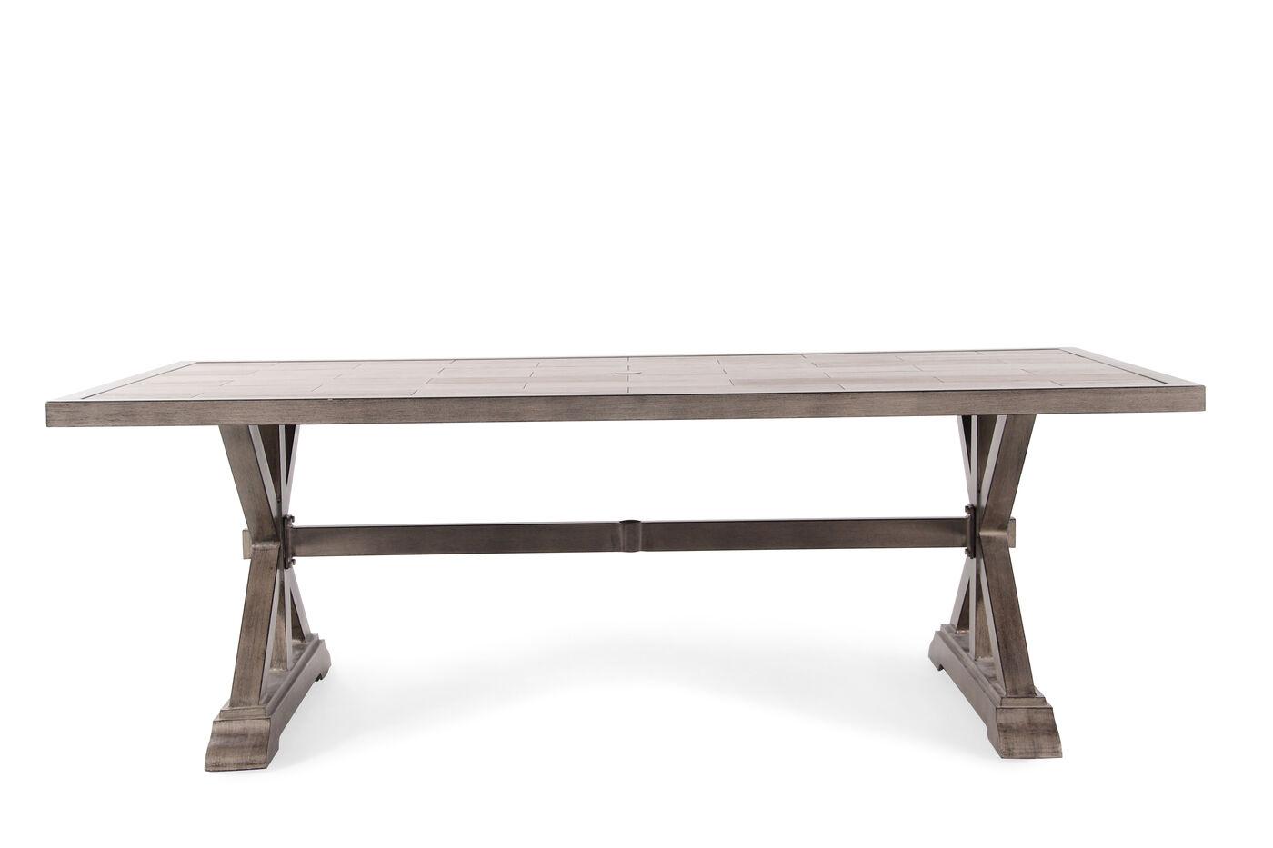 Images X Pedestal Rectangular Aluminum Table In Medium Brown