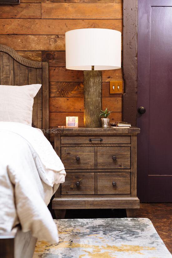 "64"" Cottage Planked Panel Bed in Natural Umber"