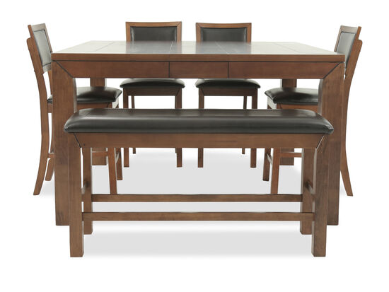 Six-Piece Casual 60'' Pub Dining Set in Medium Brown