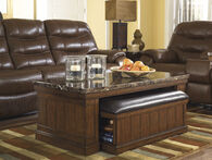 Two-Piece Rectangular Cocktail Table and Ottoman Set in Brown