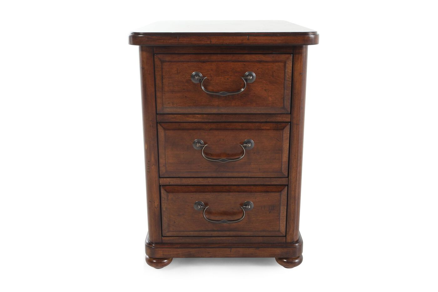 Square Three Drawer Contemporary Chairside Table In