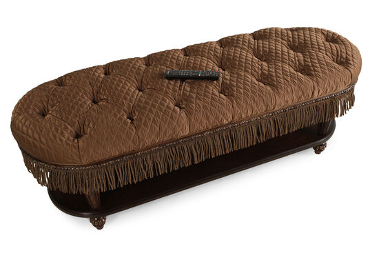 """Button-Tufted Traditional 58"""" Bed Bench in Brown"""