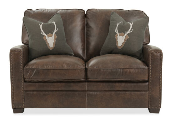 "Nailhead-Trimmed Contemporary Leather 56"" Loveseat in Brown"