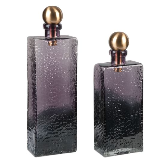 Two-Piece Hammered Glass Bottles in Ombre Purple