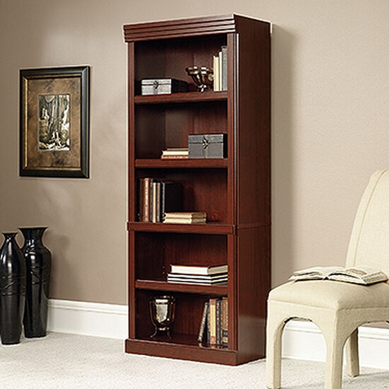 Traditional Adjustable Shelf Open Library in Classic Cherry