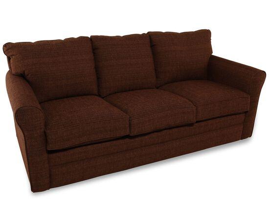 Transitional 82quot queen sleeper sofa in chocolate mathis for Transitional sectional sofa sleeper
