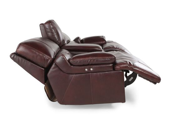"""Power Reclining Leather 79"""" Loveseat with Console in Cabernet"""