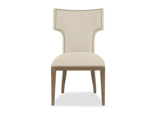 Nailhead-Trimmed 38'' Side Chair in Cream