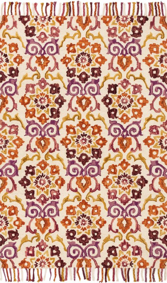 """Contemporary 1'-6""""x1'-6"""" Square Rug in Ivory/Berry"""