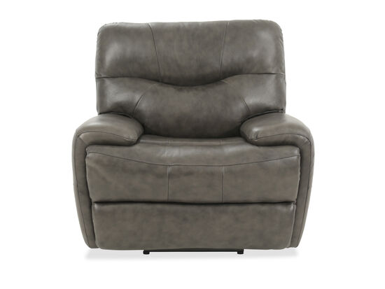 "Leather 44"" Power Recliner in Gray"