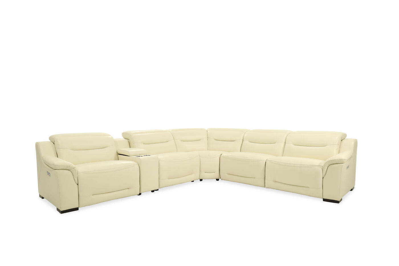 Leather power reclining sectional in cream mathis - Living room with cream leather sofa ...