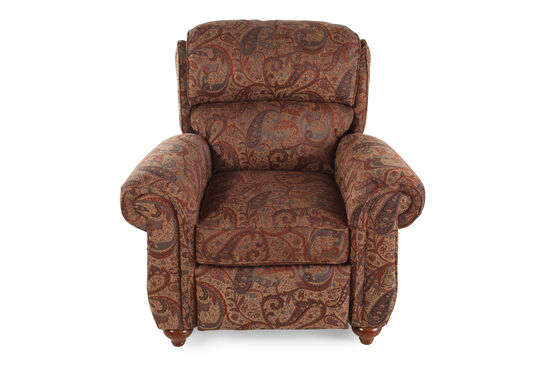 """Traditional Cayenne Floral-Patterned 41"""" Recliner"""