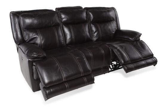 """Leather 87"""" Reclining Sofa in Dark Coffee"""