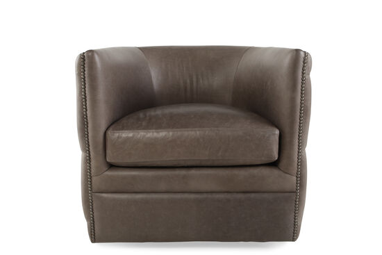 "Nailhead-Trimmed Industrial 31.5"" Swivel Chair in Dark Latte"
