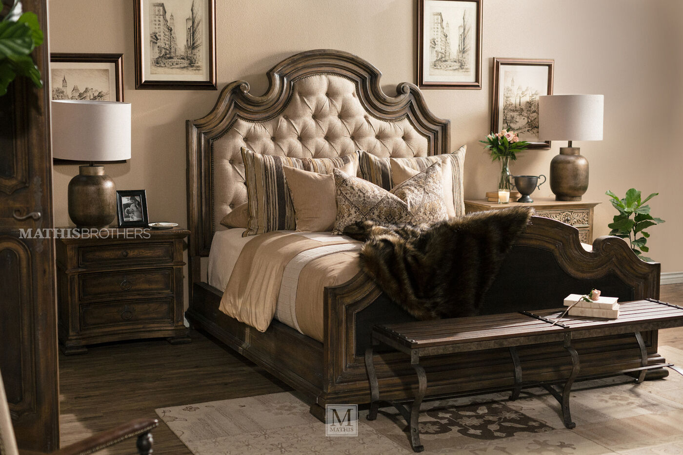 hooker bedroom furniture. Button Tufted Weathered Bed in Brown  Mathis Brothers Furniture