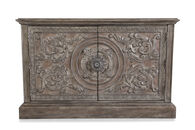 Floral-Carved Doors Traditional Console in Driftwood