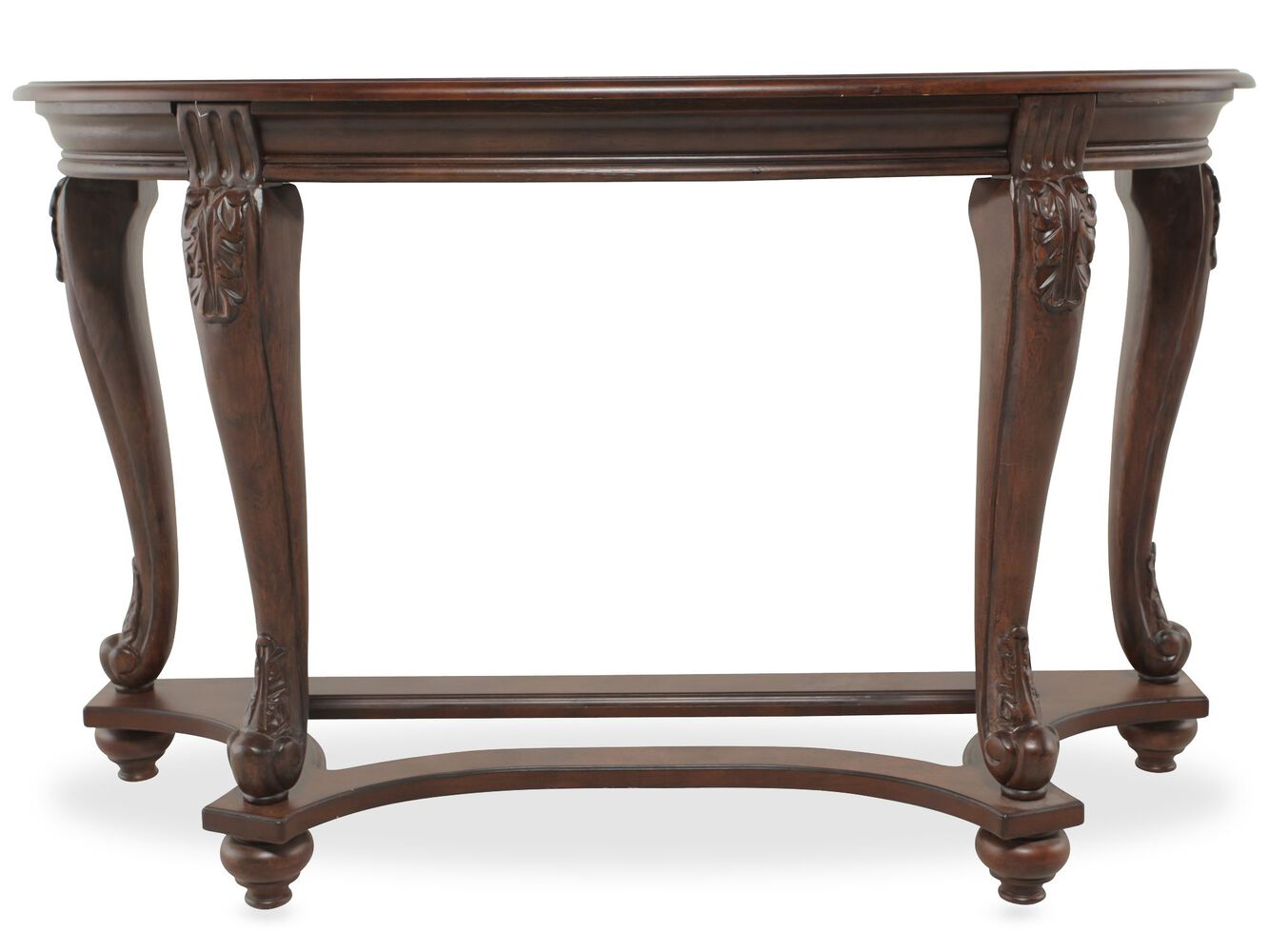 Traditional chippendale leg sofa table in brown mathis for Traditional sofas with legs