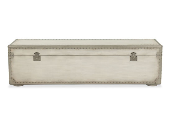 "Nailhead Accented European Classic 60"" Storage Bench in White"