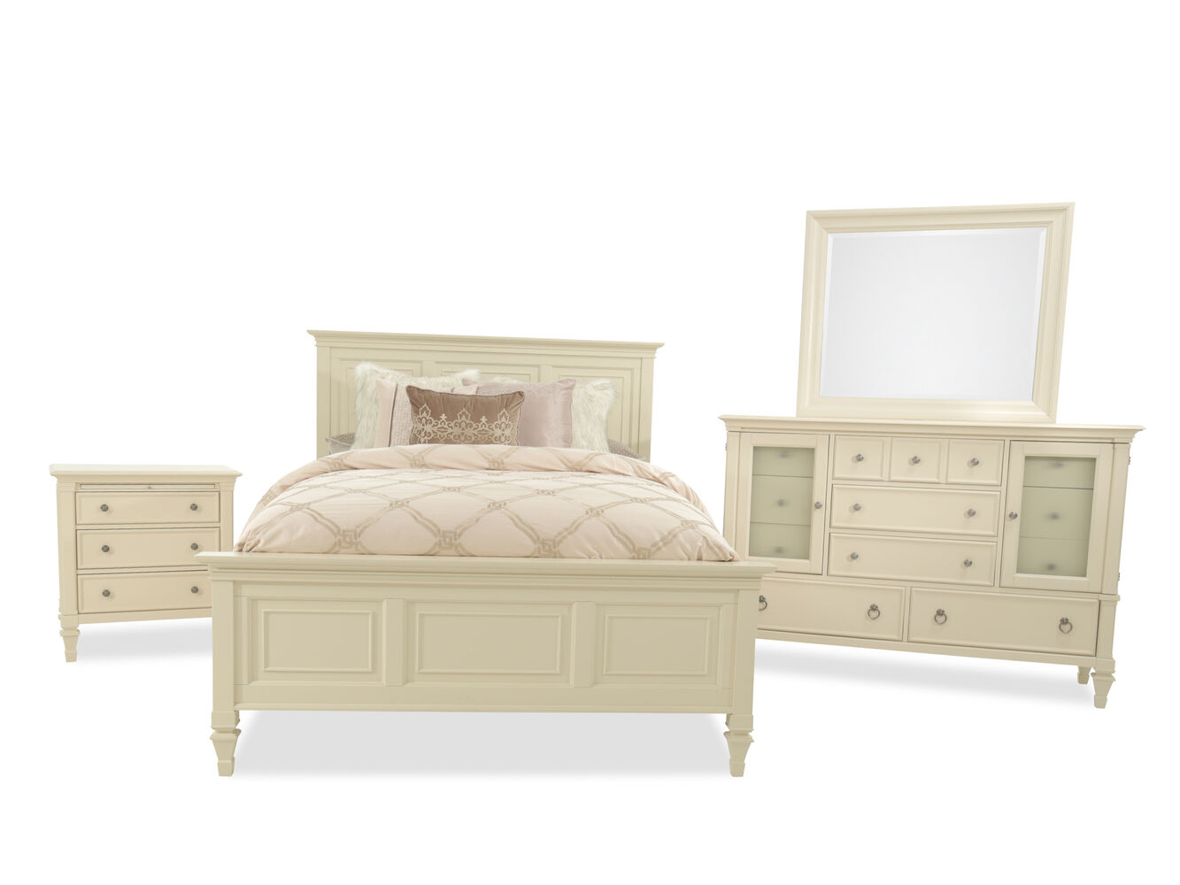 Four Piece Traditional Bedroom Set In Patina White Mathis Brothers Furniture