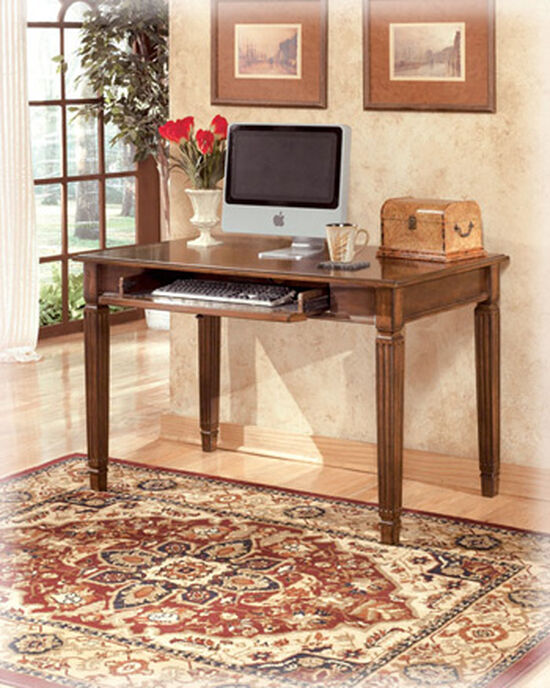 "48"" Small Casual Fluted-Leg Desk in Medium Brown"