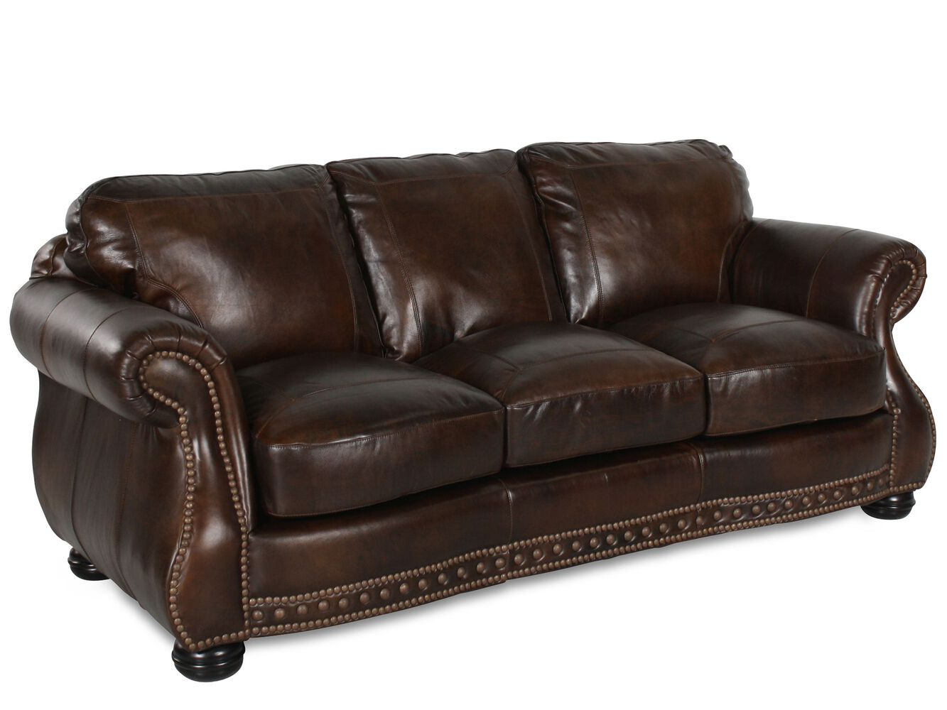 Traditional leather 88 sofa in brown mathis brothers for Traditional leather sofas furniture
