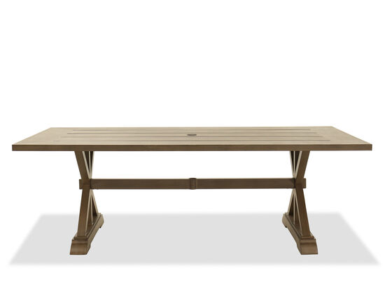 Rectangular Aluminum Dining Table in Aged Teak