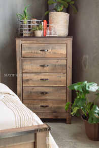 "55"" Five-Drawer Rustic Farmhouse Chest in Rustic Brown"