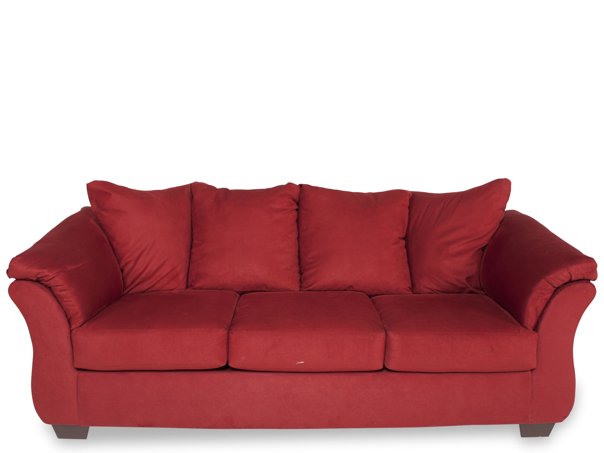 Contemporary LowProfile 90 Sofa in Red Mathis Brothers Furniture