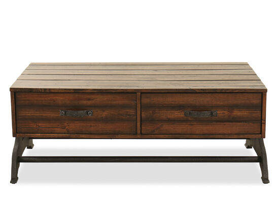 Two-Drawer Rectangular Cocktail Table in Brown