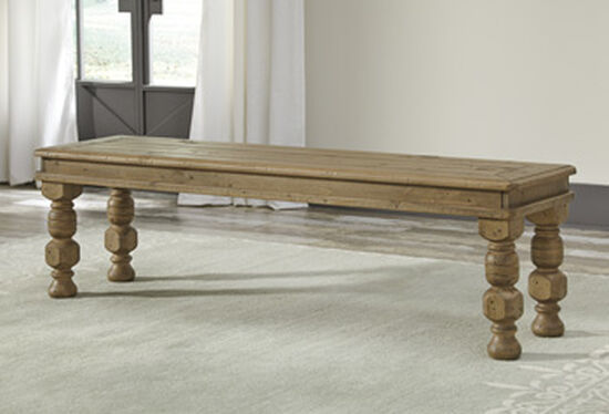 "Casual 64.25"" Solid Wood Bench in Brown"