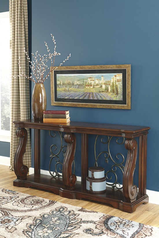Scroll Detailed Casual Sofa Table in Brown
