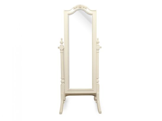 Arched Traditional Youth Cheval Mirror with Concealed Storage in Light White