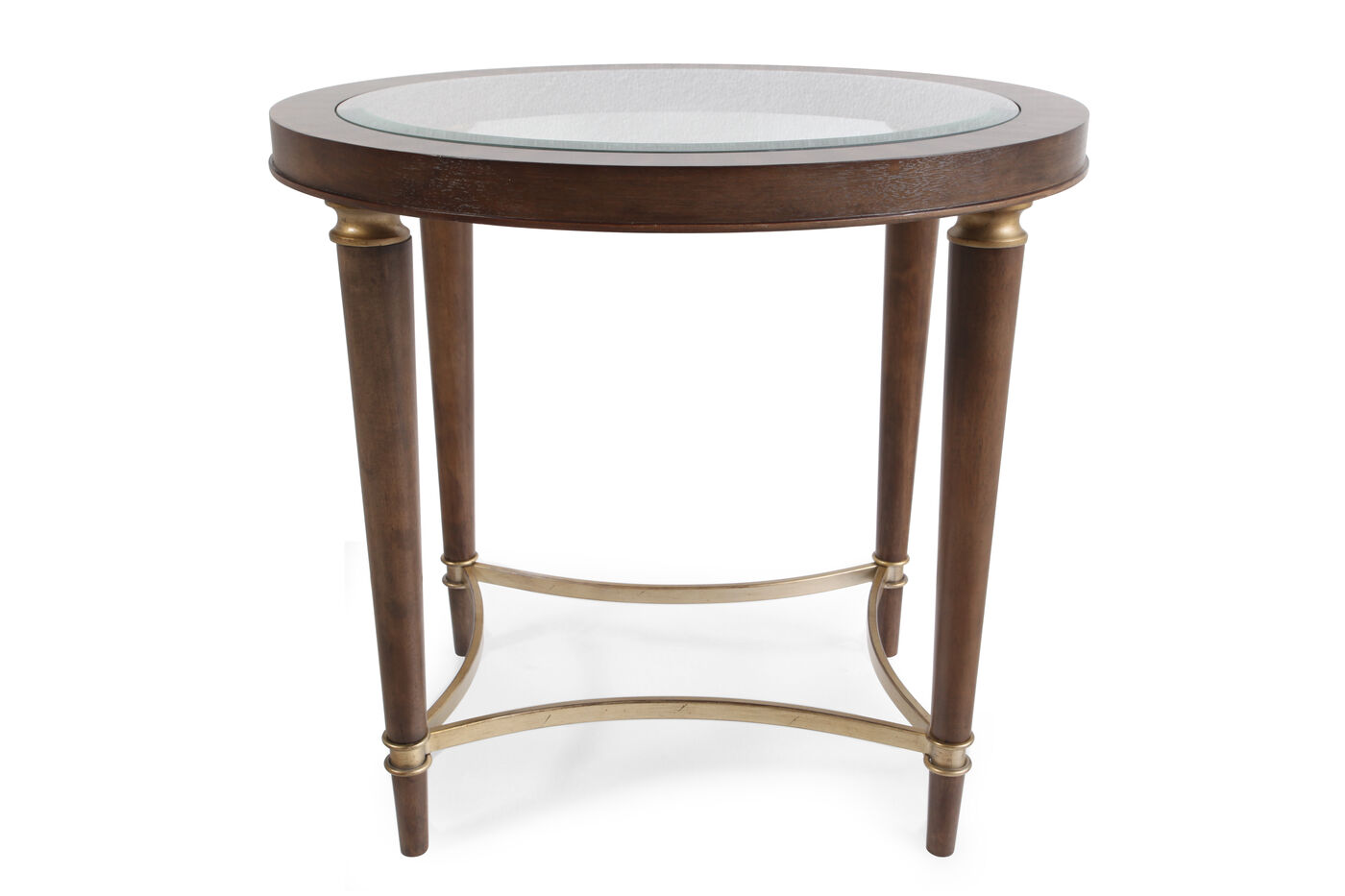 Contemporary Glass Inset Lamp Table In Brown Mathis Brothers Furniture