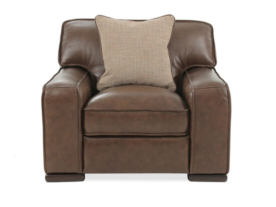 "T-Back Traditional Leather 44"" Chair in Brown"