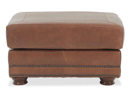 "Nailhead Accented 30"" Leather Ottoman in Brown"