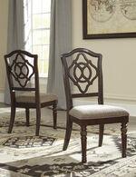 "Open Work Detailed 20"" Upholstered Side Chairin Reddish Brown"