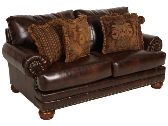 Rolled Arm Traditional Loveseat in Brown
