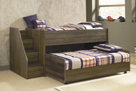 Casual Youth Twin Caster Bed in Brown