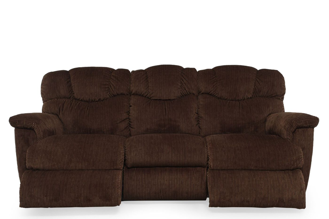 Power Reclining Corduroy Sofa In Dark Brown Mathis