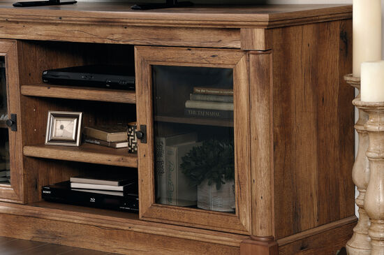 Two-Glass Door Casual Entertainment Credenza in Vintage Oak