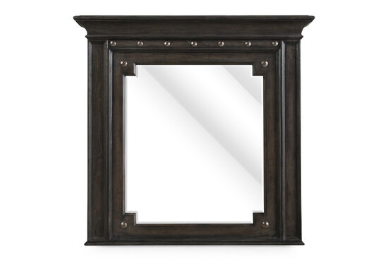 "40.5"" Nailhead Trimmed Mirror in Dark Charcoal"