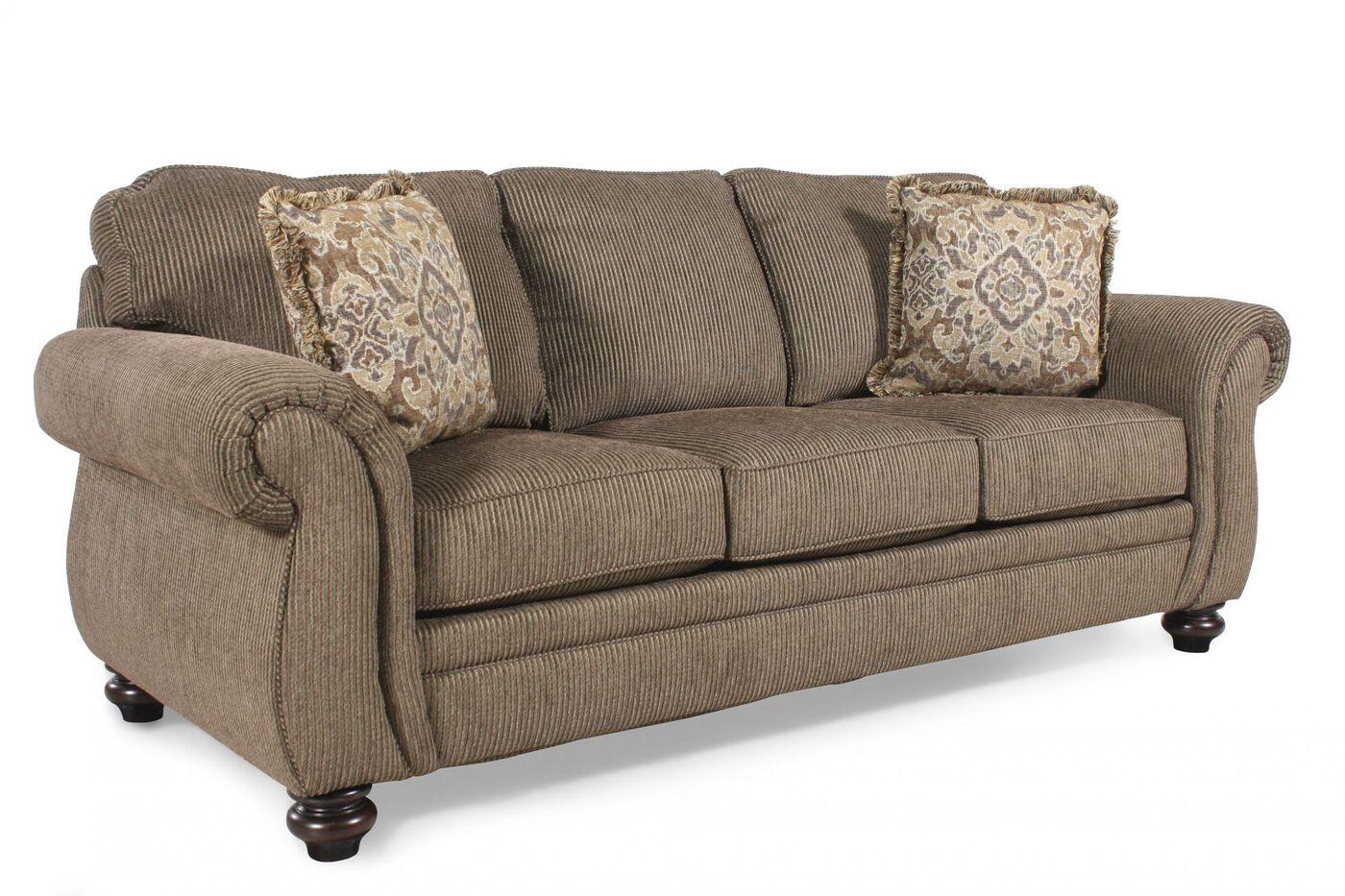 corduroy 89 queen sleeper sofa in teak mathis brothers furniture. Black Bedroom Furniture Sets. Home Design Ideas